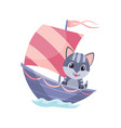 cute cat animal sailing on boat funny vector image vector image