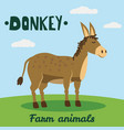 cute donkey farm animal character farm animals vector image vector image
