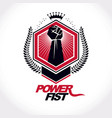 emblem created using clenched fist of a strong vector image