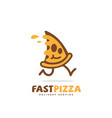 fast pizza logo vector image vector image