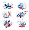 fishing sport and recreation isolated icons vector image