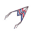 flying hand drawn paper plane doodle kite vector image
