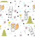 funny seamless pattern with funny animals vector image vector image