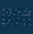gamer outline blue horizontal banners vector image vector image