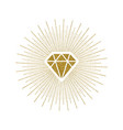 glitter gold shining diamond with sunburst vector image vector image