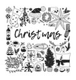 hand drawn christmas creative ink art work vector image