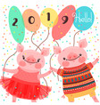 happy 2019 new year card couple of funny piglets vector image vector image