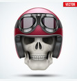 human skull with retro chopper helmet vector image vector image