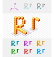 Isometric font from the cubes Letter R vector image vector image