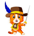 kitten musketeer with sword vector image vector image
