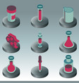 laboratory color isometric icons vector image vector image