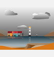 lighthouse and houses standing on island in vector image vector image