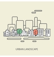 linear background with urban landscape a stylish vector image vector image