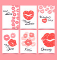lips prints card with love valentines day and vector image vector image