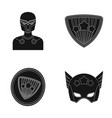 man mask cloak and other web icon in black vector image vector image