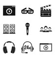 mobile information icons set simple style vector image vector image