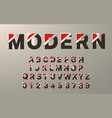 modern alphabet template glitch typography vector image