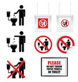 no throw paper towels in toilet sign set vector image vector image
