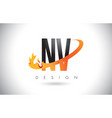 nv n v letter logo with fire flames design and vector image vector image