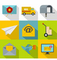 online delivery icons set flat style vector image vector image