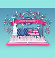 open book with city landscape and firework vector image vector image
