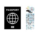 Passport Icon with 2017 Year Bonus Symbols vector image vector image