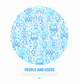 people and users concept in circle vector image vector image