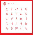 pin icons vector image vector image