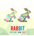 rabbit animal pet pop art low poly line logo icon vector image