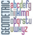 Retro colorful font with triple equal lines vector image
