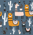 seamless pattern with cute llamas ans cactuses vector image