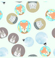 seamless pattern with gray rabbit fox polar bear vector image