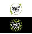 set green tea hand written lettering vector image vector image
