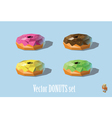 set of donuts chocolate strawberry mint mellon vector image vector image