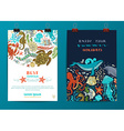 Set of two sea life poster templates vector image vector image