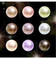 Shinyl pearls on black background set vector image vector image