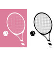 silhouette tennis racket and ball icon on pastel vector image vector image