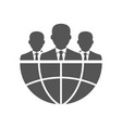 three businessman silhouettes and earth vector image