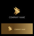 triangle gold abstract direction logo vector image