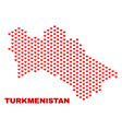 turkmenistan map - mosaic of valentine hearts vector image vector image