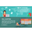 Two banners online and real shopping vector image vector image