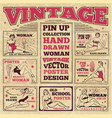 vintage pin up girls hand drawn poster designs vector image