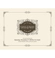 Vintage Wedding invitation card frame template vector image vector image