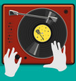 vinyl record and dj scratch vector image vector image