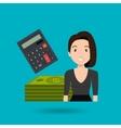 woman dollar money vector image