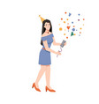 woman with confetti firecracker celebrate birthday vector image