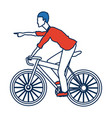 young man riding bicycle transport design vector image