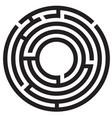 circle maze symbol on white background round maze vector image