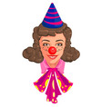 head woman mom in clown attire vector image