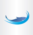 shark in ocean symbol design vector image